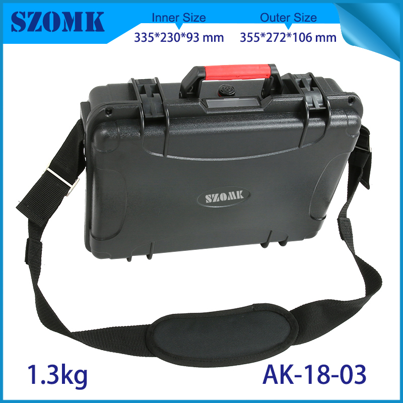 waterproof plastic hard tool carrying case pp and abs weatherproof equipment tool case with Sponge inside 355x272x106mm szomk
