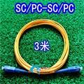 CATV De Fibra Óptica Patch Cord, SC-SC 3.0 m, simple, 3.0mm Cable de Puente, puente De Fibra óptica monomodo Solo Conductor 10 unids/lote