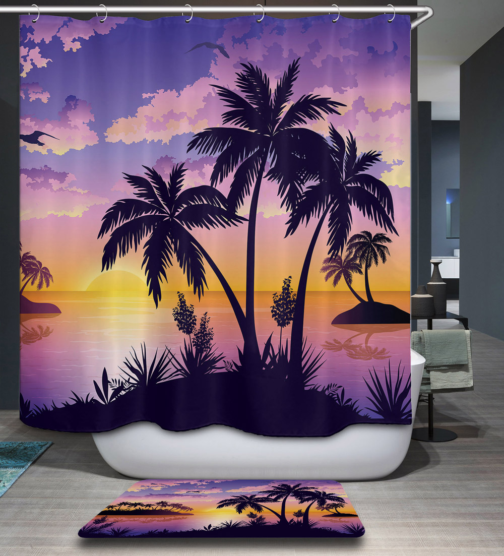 Night Starry Natural Scenery 3D Pattern Polyester Fabric Waterproof Shower Curtain 12pc Hooks Mildew Resistant Bathroom Decor