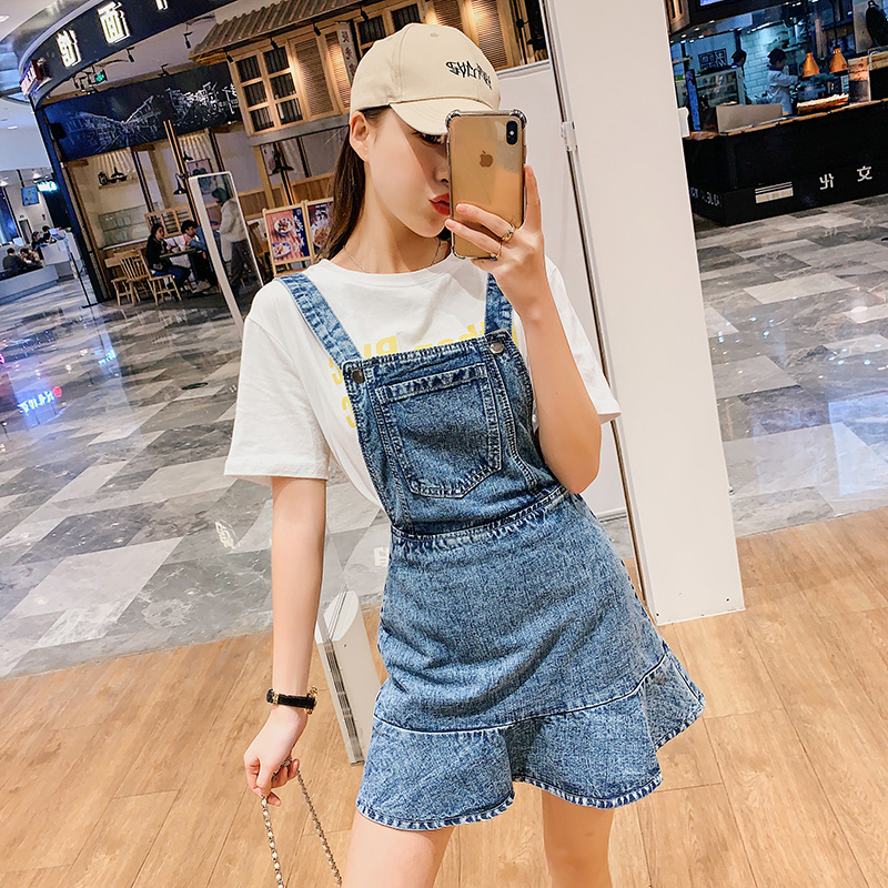 Denim Dress For Women 2019 Summer Cotton Chic Spaghetti Strap Dresses Female Vintage Multi Pocket Sundress AIYANGA in Dresses from Women 39 s Clothing