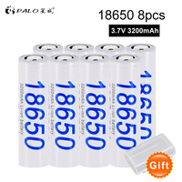 PALO 8pcs/lot 100% Original 18650 NCR18650B 3200 mah Li ion Rechargeable battery For Panasonic Flashlight batteries