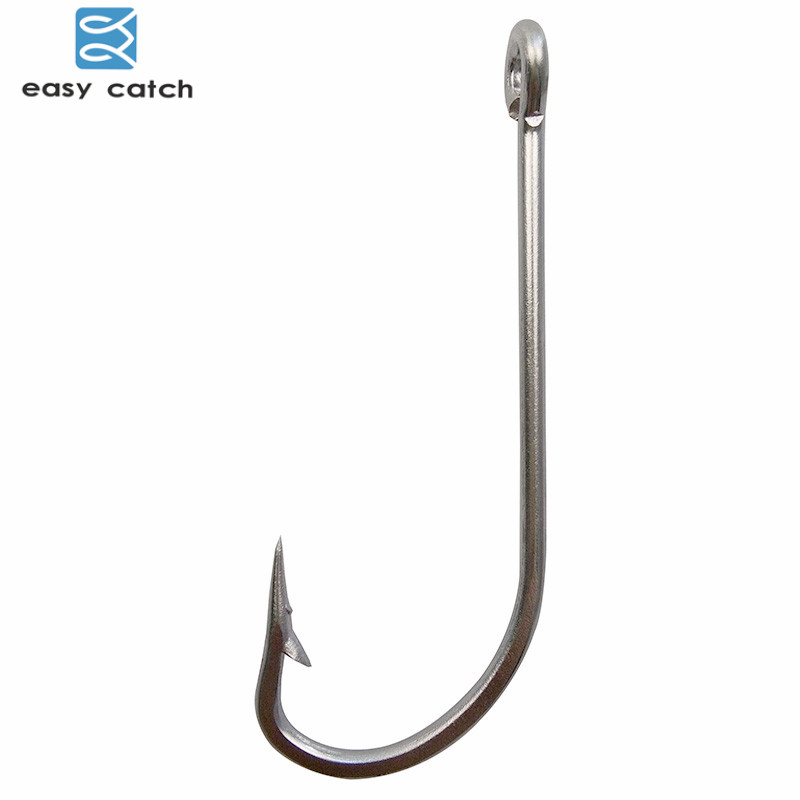 Easy Catch 30pcs 34007 Stainless Steel White Big Extra Long Shank Fishing Hooks Size 1/0 2/0 3/0 <font><b>4</b></font>/0 5/0 6/0 <font><b>7</b></font>/0 8/0 9/0 10/0 image