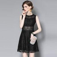 Aliexpress Uk 2017 Summer New Commute OL Lace Solid Round Neck Dress Clothing Women Sundress Elegant