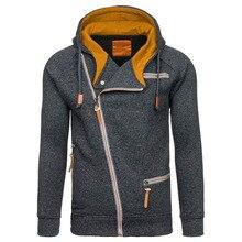ZOGAA 2019  Autumn Fleece Hoodies For Men Fashion Solid Sweatshirts Zipper Cardigan Cotton Sportswear Fitness Tracksuit 4XL