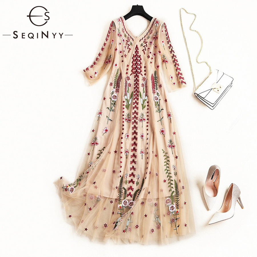 SEQINYY Embroidery Dress Flowers 2019 Early Spring Summer Half Sleeve Fashion Design Women Sexy V Neck