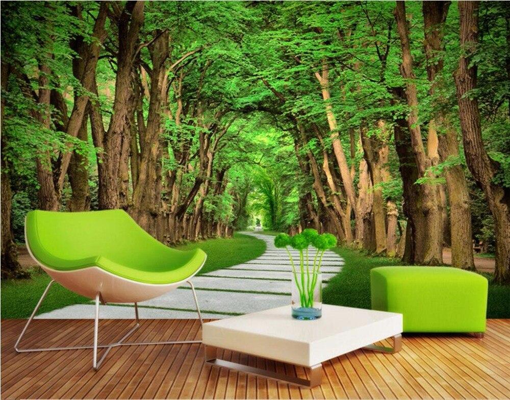 3d papel pintado personalizado foto mural tree lined for Papel pintado personalizado
