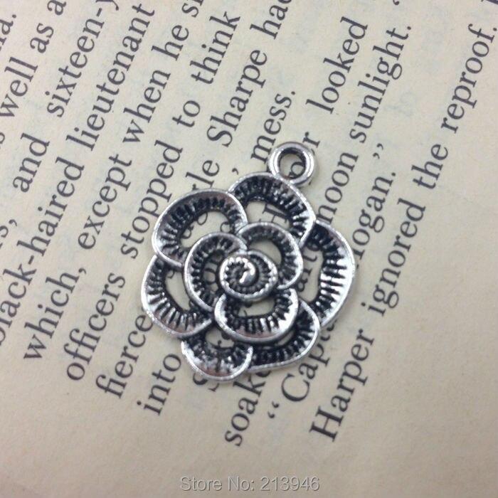 50 unids 19 24mm vintage plata Rosa estilo aleación Amuletos joyería  Colgantes 4692ff315ec9d