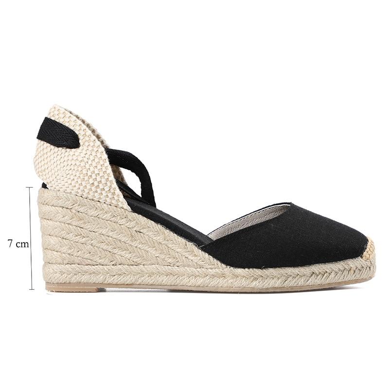 HTB1jtn7RbPpK1RjSZFFq6y5PpXae New 0-3cm Tienda Soludos Womens Wedge Sandals Ankle Strap Cap Toe Espadrille Sandal Concise Cotton Fabric {sandals} Women