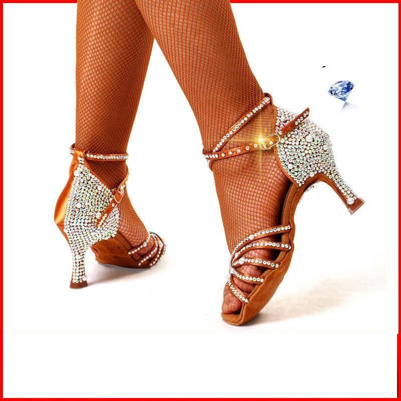 Кроссовки; Стандартные туфли для танцев; женские Брендовые вечерние туфли для бальных танцев; туфли для латинских танцев высокого качества с бриллиантами; цвет коричневый; скидка; BD 217z; Лидер продаж