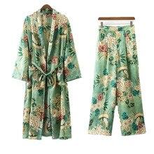 цена на Ladies long holiday printed long-sleeved cardigan sun kimono loose jacket print wide leg pants