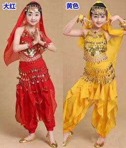Image 4 - Cô gái Múa Bụng Trang Phục Bộ Trẻ Em Ấn Độ Nhảy Đầm Trẻ Em Bollywood Dance Trang Phục cho Bé Gái Hiệu Suất Nhảy Mặc 6 Màu