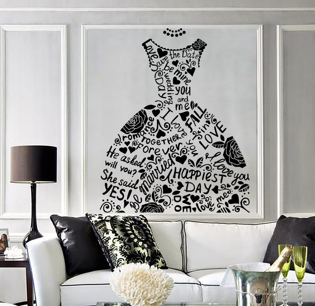 Wedding dress vinyl fashion decor mural bridal shop wedding wedding dress vinyl fashion decor mural bridal shop wedding decoration removable wall stickers bedroom decorate art junglespirit Images