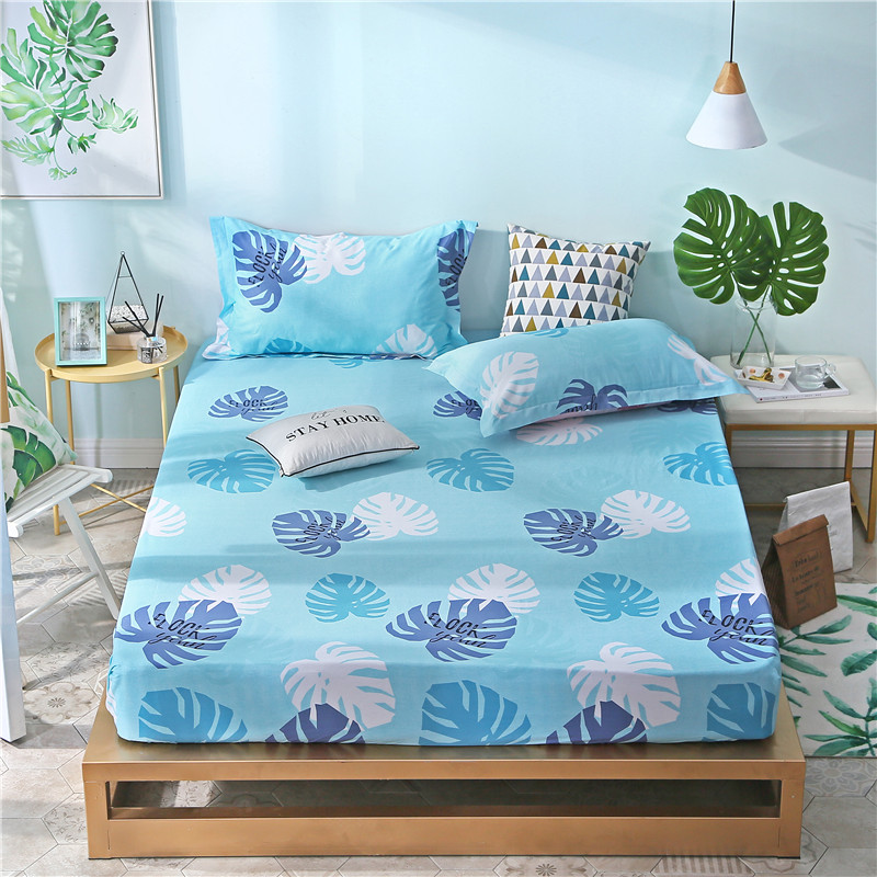 Blue Leaves Pattern Fabric Polyester Bedding Sets Fitted Sheet Bed Sheets Comfort Mattress Cover