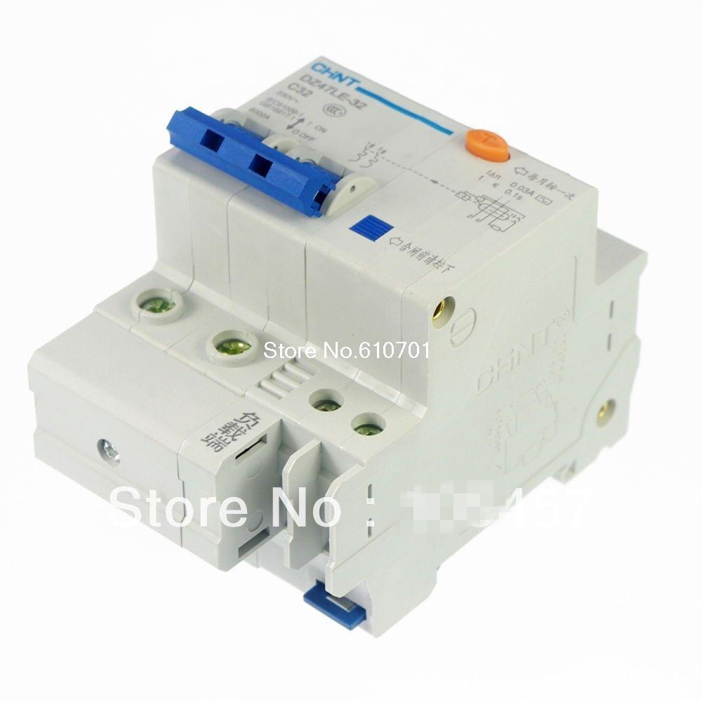 C32 ELCB Earth Leakage Protection Circuit Breaker DZ47LE 2P+N AC230/400V 50/60A 30mA 4KA Delay dz47le 3p n 40a 30ma 230 400v small leakage circuit breaker dz47le 40a household leakage protector switch