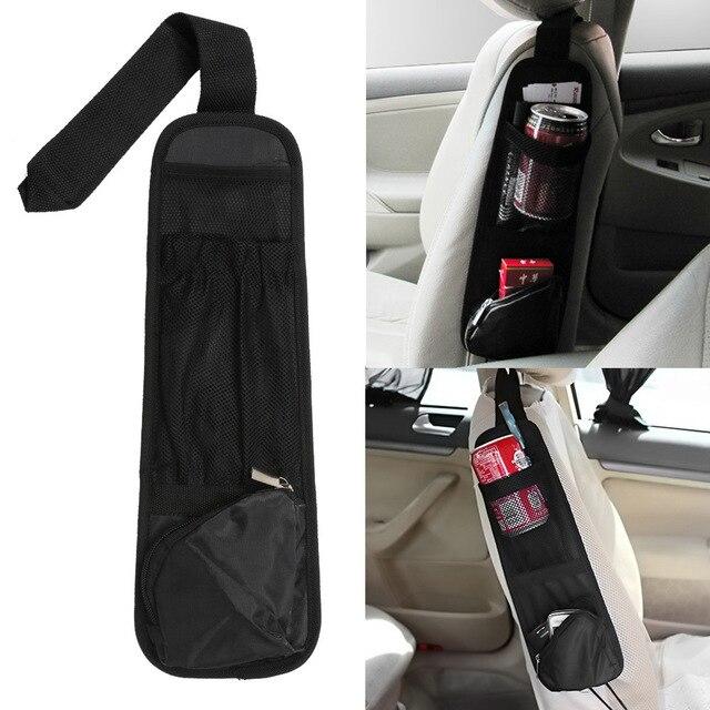 Bolsa de almacenamiento colgante organizador del coche vehículo Auto asiento bolsillo lateral bolsas misceláneas titular Nylon 37*12 cm negro