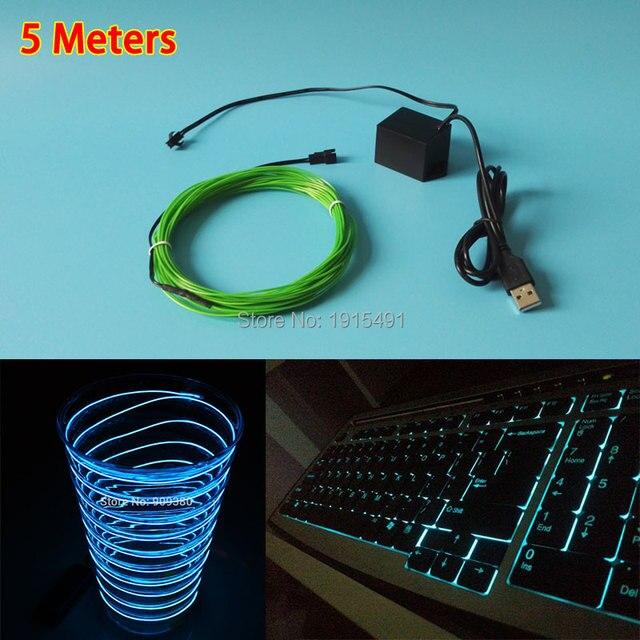Barato! 5 Metros 1.3mm Tempo Espumante presente Brinquedos neon fio EL luz Fria + uma Constante em Drives USB Para Decoração do Festival