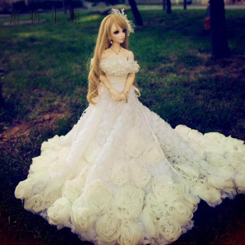 New Pure handwork flowers Tail Wedding dress Suit 3pcs 1/3 1/4 1/6 BJD SD MSD YOSD Doll Clothes new bjd doll jeans lace dress for bjd doll 1 6yosd 1 4 msd 1 3 sd10 sd13 sd16 ip eid luts dod sd doll clothes cwb21