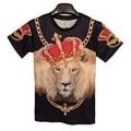 2016 New arrivals homens da camisa de t legal 3d Crown Leão tanto lado impresso t-shirt para roupas de marca quente hip hop mma camiseta homme