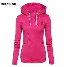 XUANSHOW 2018 Women Fashion Fleeces Sweatshirts Hooded Candy Colors Solid Sweatshirt Long Sleeve Zip Up Clothing Sudaderas Mujer
