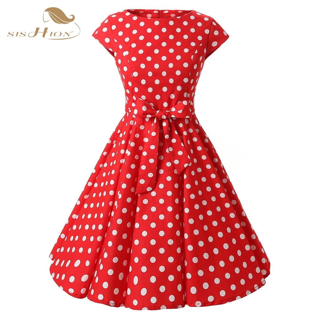 35826941d8846 SISHION Elegancka Czerwona Sukienka Plus Size Lato Odzież Damska Bawełna  Grochy Rockabilly Vintage Suknia Cap Sleeve Vestidos VD0226