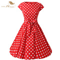 SISHION Elegant Red Dress Plus Size Women Clothing Cotton Polka Dot Cap Sleeve Rockabilly Vintage Dress Vestidos Femininos D0226