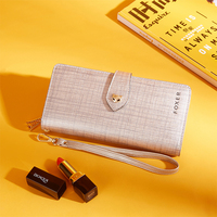 FOXER Women Leather Long Wallet Phone Bag Card Holder Luxury Coin Purse For Women Brand Card