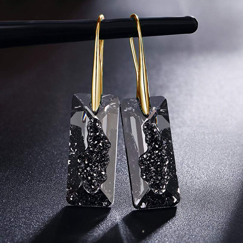 BAFFIN Black Crystals From Swarovski Gold Color Drop Earrings For Women Party Retro Vintage Rectangle Pendant Statement Jewelry