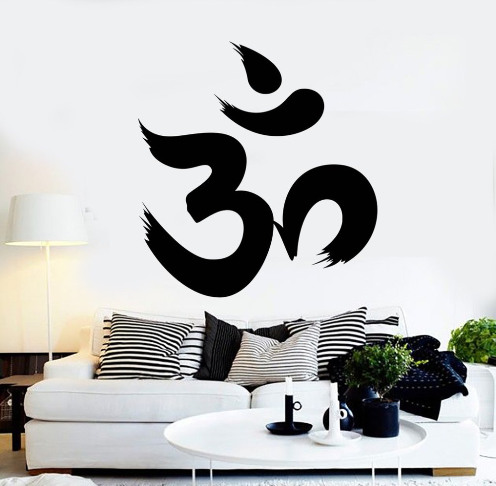 Autocollant mural en vinyle hindé créatif   Autocollant hinduisme, Sanskrit de caractère Om, décor de tatouage de personnalité, pour salon, SA156