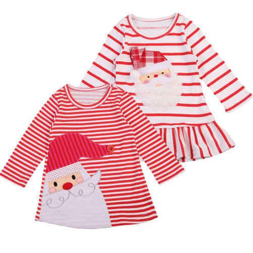 Canis Kızlar Noel Elbise Elbise Çizgili Santa Baskı Parti Tutu Elbiseler Noel 2-7T