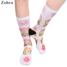 Zohra 2016 High Quality Women's Stretch sock Emoji Monkey Flowers Printed Female Meias White Socks Hosiery