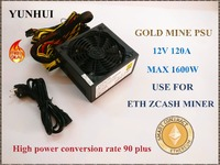 ETH ZCASH MINE Power Supply NEW MAX Output 1600W 12V 120A Suitable For R9 380 RX