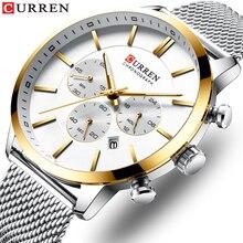 2019 החדש CURREN שעון גברים הכרונוגרף קוורץ עסקים Mens שעונים למעלה מותג יוקרה עמיד למים שעון יד