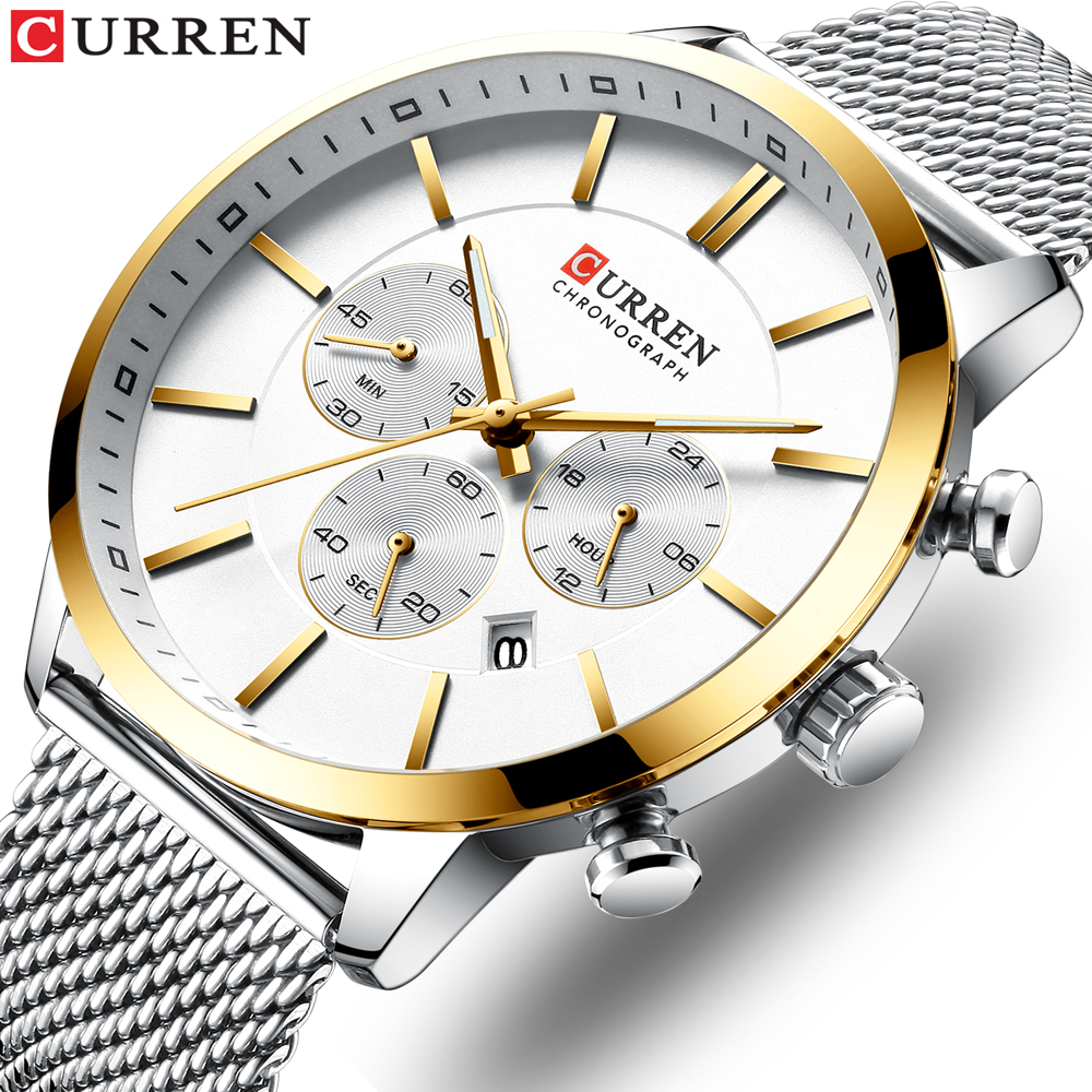 2019 New CURREN Watch Men Chronograph Quartz Business Mens Watches Top Brand Luxury Waterproof Wrist Watch Reloj Hombre Saat