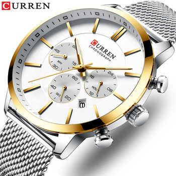 2019 New CURREN Watch Men Chronograph Quartz Business Mens Watches Top Brand Luxury Waterproof Wrist Watch Reloj Hombre Saat - DISCOUNT ITEM  90 OFF Watches