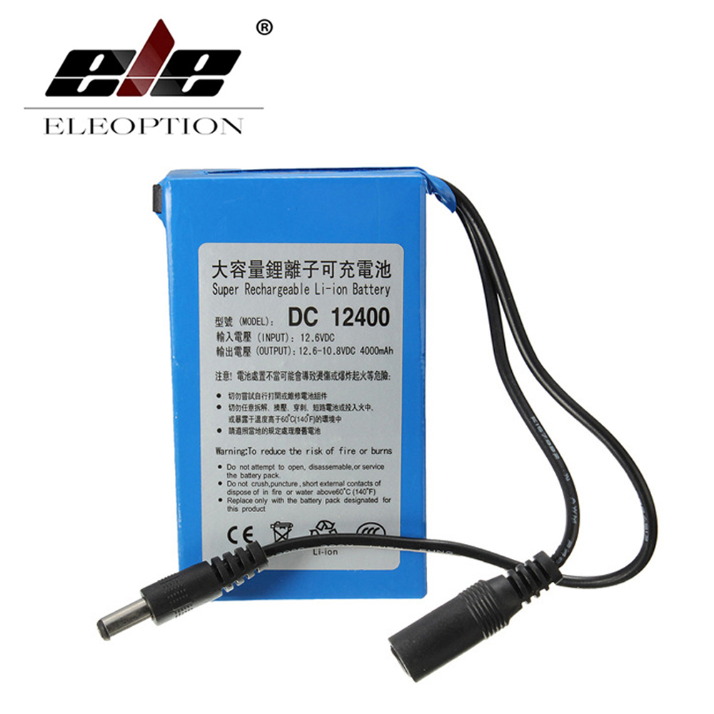 ELEOPTION High Quality <font><b>DC</b></font> 12V DC12400 4000mAh Super Rechargeable Portable Lithium-ion Battery With Plug image