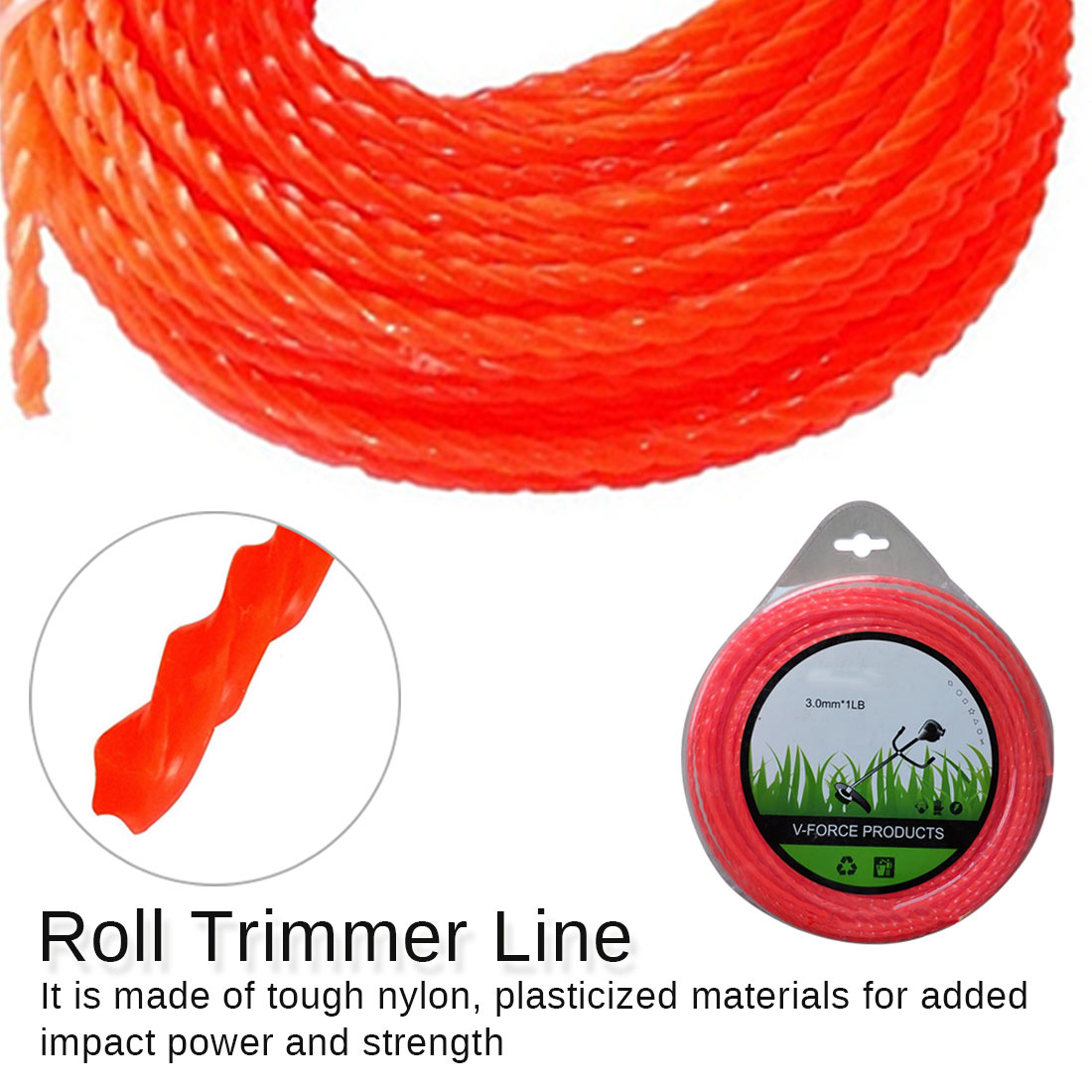 Threaded Nylon Strimmer Line 3mm Diameter Cord Grass Trimmer Line Grass Cutting Weed Cutter Trimmer Replacement Part