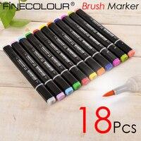 Finecolour 18 P Brush Marker Pen EF102 Soft Tip Cartoon Sketch Designer Graffiti Paint Optional Skin