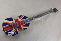 Chinese Factory Custom new Hofner Violin bass 4 Strings bass with England Flag and flame maple body and top Free Shipping 917