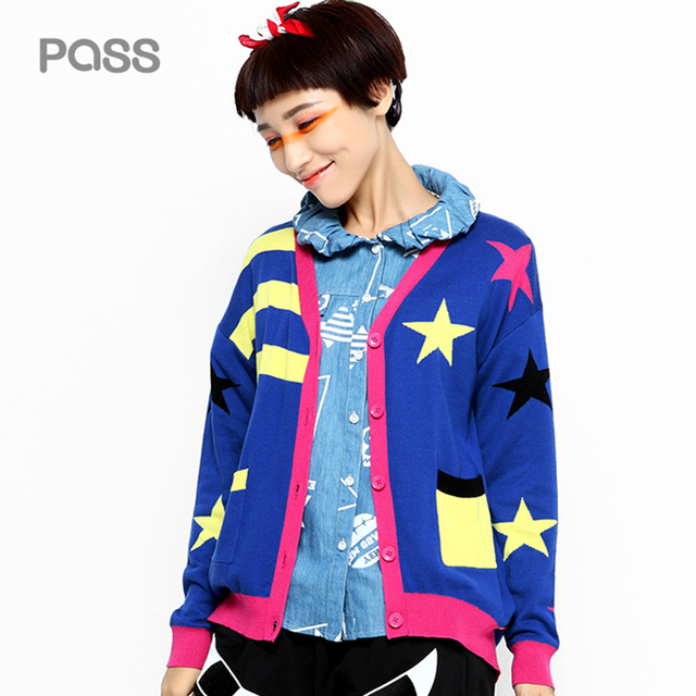 bca9c4b268 PASS 2017 New Arrival Spring Women Button Fashion Cardigan V-Neck Stripe  Star Pattern Pocket