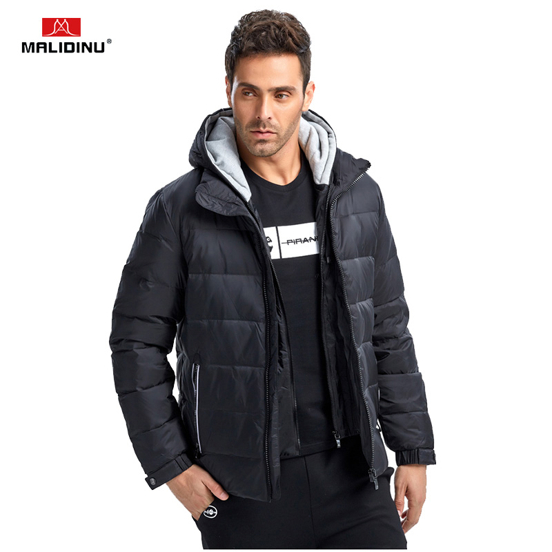 MALIDINU 2019 Men   Down   Jacket Winter Jackets   Down     Coat   Brand 70%White Duck   Down   Winter Thick Parka Detachable Hood Free Shipping