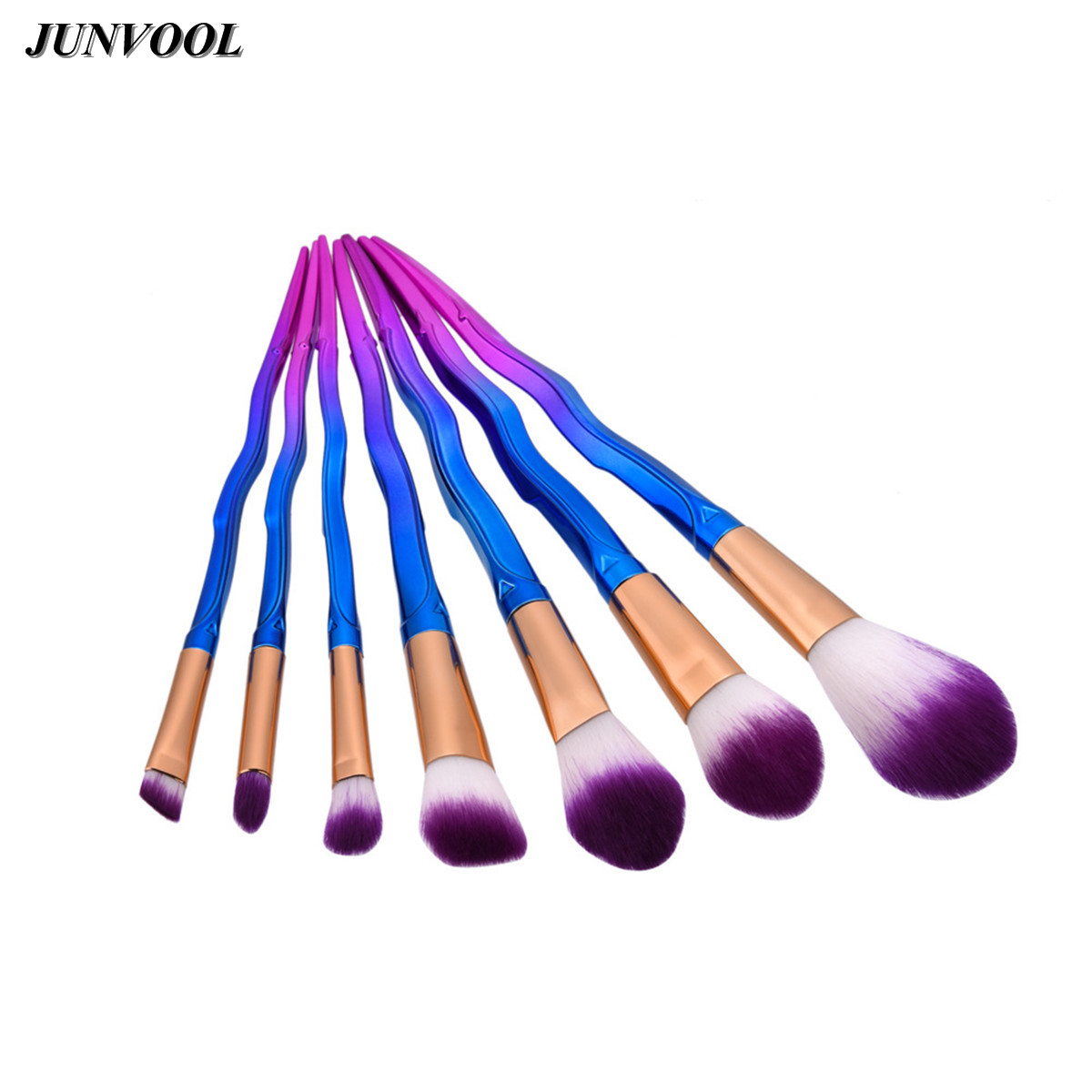 Purple Hair Makeup Brushes Set 7Pcs Sword Shape Beauty Cosmetic Eyeshadow Lip Powder Face Pinceis Tool Kabuki Brush Kits Pincel black coffee leeds