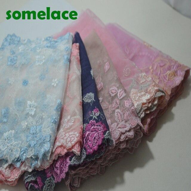 1Y синий ~ Розовый ~ коричневый ~ оранжевый ~ фиолетовый и т. д. Марля цвет цветочный вышивка кружево высокое качество лента с кружевной вышивкой lace18121007