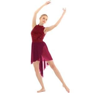 Image 4 - Women Halter Sleeveless Shiny Sequined High Low Mesh Gymnastics Leotard Skating Ballet Dance Dress Adult Lyrical Dance Costumes