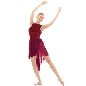 Image 4 - 여자 고삐 민소매 반짝 이는 sequined 높은 낮은 메쉬 체조 레오타드 스케이트 발레 댄스 복장 성인 서정적 인 댄스 의상