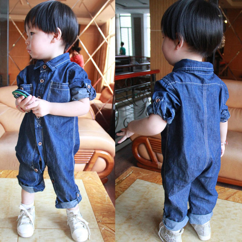 2018 Fashion Denim Rompers for Newborn Baby Boy Spring 2017 Warm Outerwear Sport Jumpsuit Clothes Infant Bebes Boys Romper 0-4T