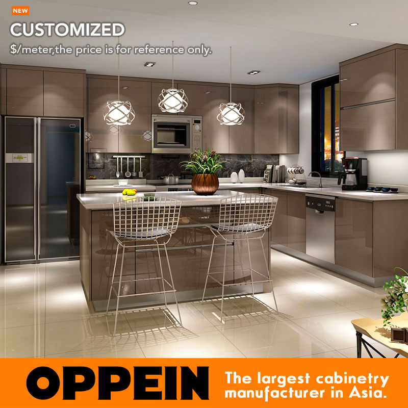 Guangzhou  Kitchen Cabinet  Factory Modern Dark Color High Gloss Thermofoil Kitchen Cabinet OP16-pp01