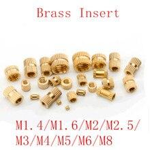 100 шт/50 шт/20 шт m1.4 M2 M2.5 M3 M4 M5 M6 M8 латунные вставные гайки для литья под давлением латунные втулки с накатанной резьбой вставки гайки