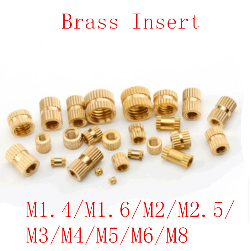 100 шт./50 шт./20 шт. m1.4 M2 M2.5 M3 M4 M5 M6 M8 гайка с кольцевой вставкой из латуни для литья под давлением из латуни, с накатанной резьбой вставки гайки