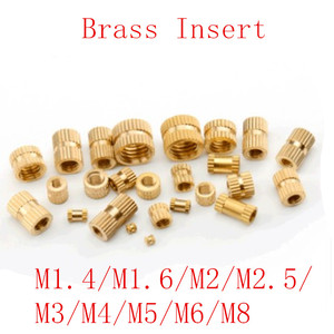 100pcs/50pcs/20pcs m1.4 M2 M2.5 M3 M4 M5 M6 M8 Brass insert nut Injection Molding Brass Knurled Thread Inserts Nuts