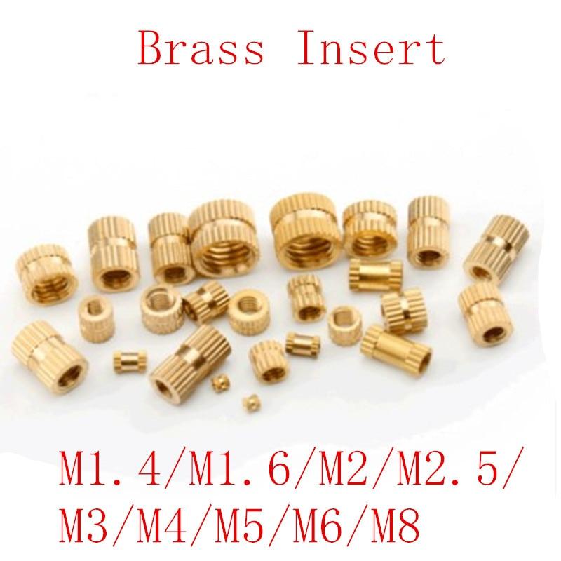25//100X M2 M2.5 Solid Brass Copper Metric Thread Knurl Insert Embedded Nut Round